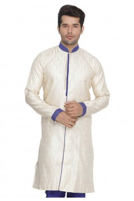 Cream Colour Cotton Silk Indowestern.