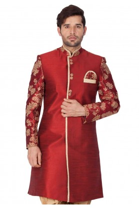 Maroon Colour Designer Indowestern.