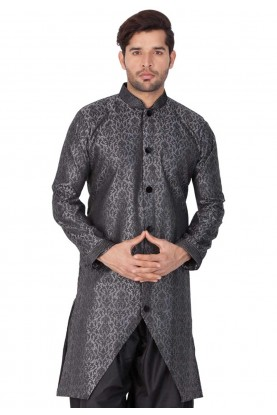 Grey Colour Silk Indowestern.