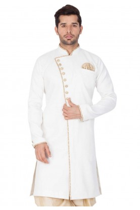 White Colour Men's Indowestern.