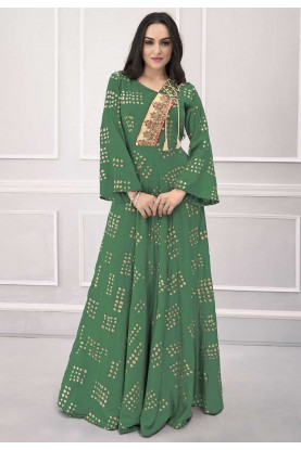 Green Colour Printed Gown.