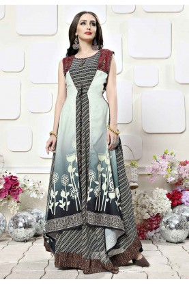 Multi Colour Readymade Gown.