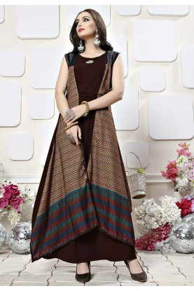 Brown Colour Party Wear Gown.