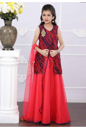 Blue,Red Colour Girl's Lehenga Choli.