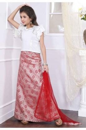 Off White,Red Colour Girl's Lehenga Choli.