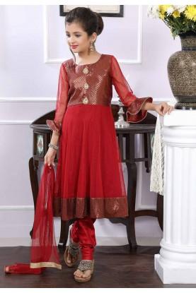 Maroon Colour Girl's Salwar Kameez.