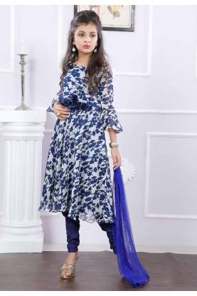 Girl's Off White,Blue Colour Salwar Kameez.