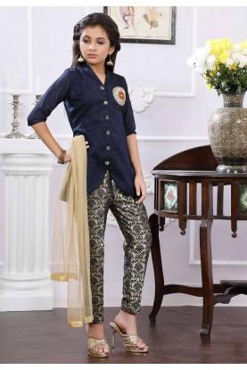 Blue Colour Girl's Salwar Suit.
