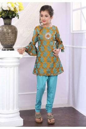 Green Colour Girl's Salwar Kameez.