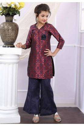 Maroon,Blue Colour Salwar Suit.