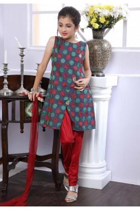 Girl's Maroon,Blue Colour Salwar Suit.