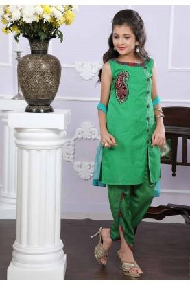 Girl's Green Colour Designer Salwar Suit.