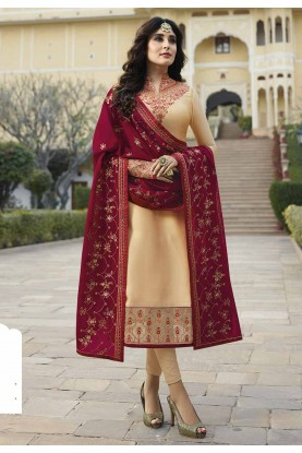 Cream Colour Indian Designer Salwar Suit.