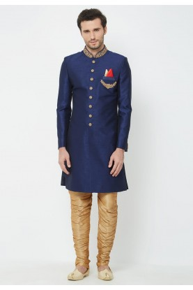 Navy Blue Men's Indowestern.