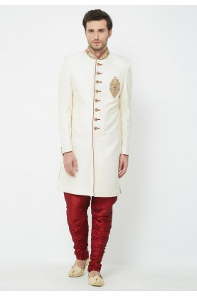 Cream Colour Indian Wedding Indowestern.