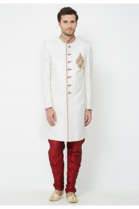 White Colour Brocade Indowestern.