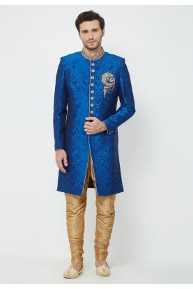 Blue Colour Wedding Indowestern.