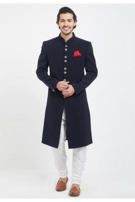 Blue Colour Achkan For Men's