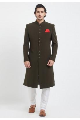 Brown Colour Achkan Style Sherwani.