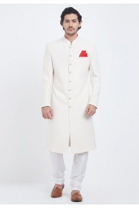 Cream,White Colour Wedding Sherwani.