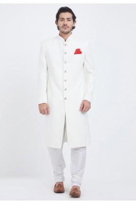 White Colour Achkan Sherwani.