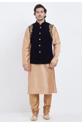 Golden,Black Colour Readymade Kurta Pajama.