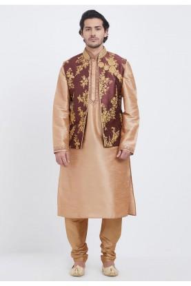 Golden,Maroon Indian Wedding Kurta Pajama.