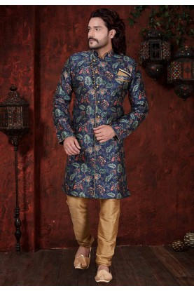 Blue Indowestern For Men's