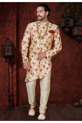 Cream,Maroon Colour Stylish Indowestern.
