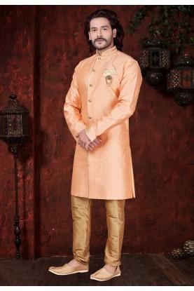 Orange Colour Plain Indowestern.
