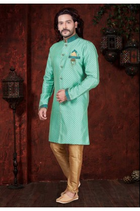 Green Colour Indowestern.