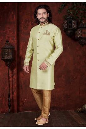 Green Colour Silk Indowestern.