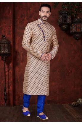 Beige Colour Printed Kurta Pajama.