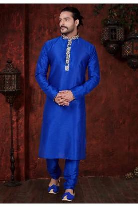 Blue Colour Dupion Silk Kurta Pajama.