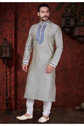 Beige Colour Indian Designer Kurta Pajama.