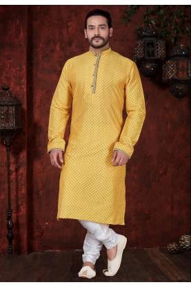 Yellow Colour Party Wear Kurta Pajama.
