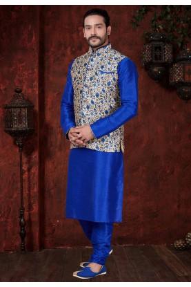 Cream,Blue Wedding Kurta Pajama.