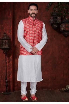 Off White,Red Colour Kurta Pajama Jacket.