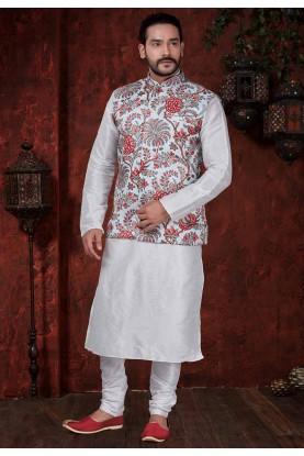 Off White,Red Readymade Kurta Pajama Jacket.