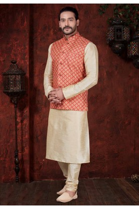 Cream,Red Indian Wedding Kurta Pajama.