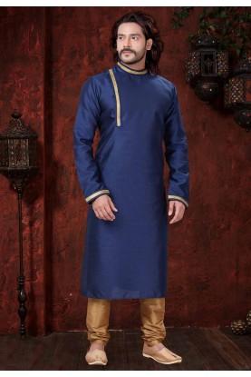 Blue Colour Plain Kurta Pajama.