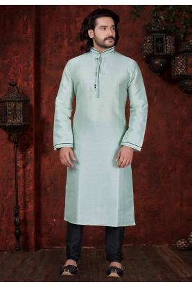 Sky Blue Colour Silk Kurta Pajama.