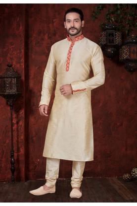 Cream Colour Dupion Silk Kurta Pajama.