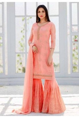 Peach Colour Sharara Salwar Suit.