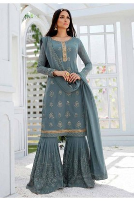 Grey,Blue Party Wear Sharara Salwar Suit.