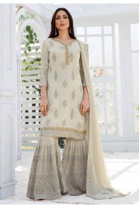 Grey,Beige Colour Salwar Suit.