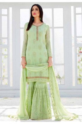 Green Colour Sharara Salwar Kameez.
