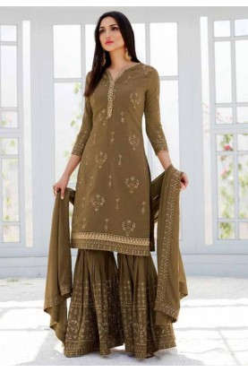 Brown Colour Designer Sharara Salwar Suit.