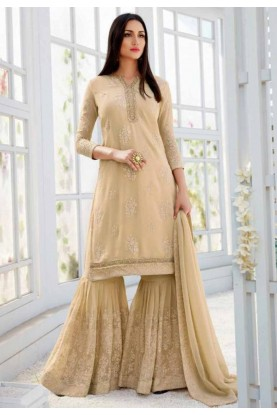 Beige Colour Designer Sharara Suit.
