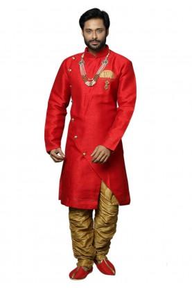 Red Colour Silk Indowestern.